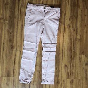 Twill pink skinny pants